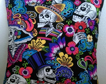 LAST ONE AVAILABLE!!  Day Of The Dead Stuffed Throw Pillow with Orange Back