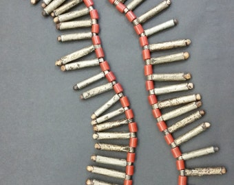 Vintage Tribal Phallic Fossil & Metal Amulets Pendants Necklace w/ Red Vulcanite Barrel Beads From India or Nepal