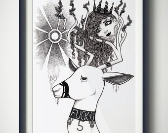 A5 handmade illustration - Deer Queen, Nature, Sun