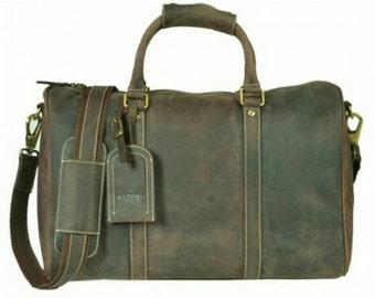 Kazami Vintage Genuine Leather Gym/Travel/Overnight Bag