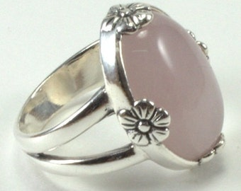 Rose Quartz Ring with Flower Accents oval cabochon and Sterling Silver Ring