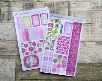 "Pink and Purple Floral Hot Air Balloon Mini Sticker Kit - ""Up, Up and Away"" 70+ Stickers for Filofax, Kikki.K, Websters Pages, Erin Condren"