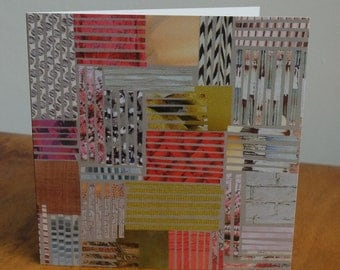 Patchwork lines 3 collage Greetings Cards