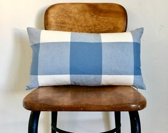 12x20 Sky Blue and White Buffalo Check Plaid Zipper Pillow Cover