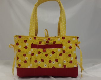 Ladybug and flowers quilted mini bow tucks purse