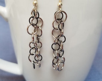 Silver chain earrings, black chain earrings, dangle, chainmaille, chainmail