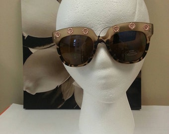 Vintage Brown Flower UV 400 Cateye Sunglasses