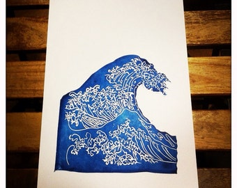 Great burning wave of Hokusai - limited edition, original work, printed by hand