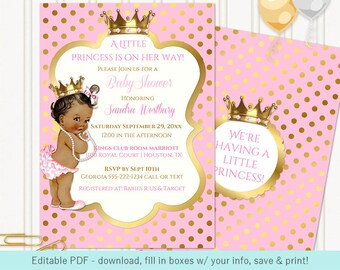 Little Royal Princess Pink & Gold Crown Jewels   African American Vintage Baby   Editable PDF Digital Instant Download