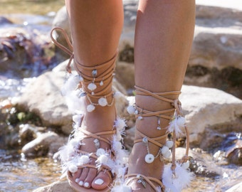 "Leather Pom Pom Sandals, Greek Sandals, Handmade Shoes, Cotton Lace, Wedding Sandals,  ""White Romance"""