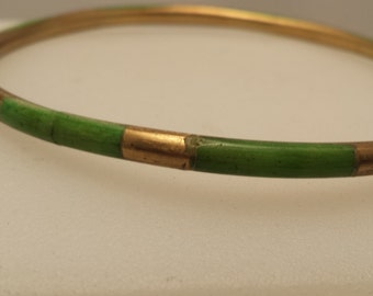 Vintage Brass and Green Stone Thin Bangle