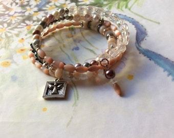 Wrap Bracelet of Peachy Grey