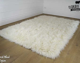 Flokati Wool Rugs - Handmade in Greece - 100% New Zealand Wool - Ultra Plush Rugs - NATURAL COLOUR - 3000gsm