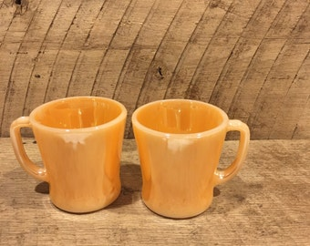 Vintage Fire-King Coffee Mugs Peach Lustre Set of Two, Anchor Hocking , D handle