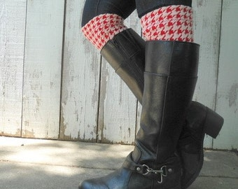 Boot toppers, boot cuffs Red and white houndstooth boot toppers