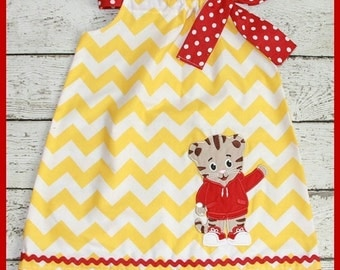 Cute Daniel the Tiger  Pillowcase style dress Yellow Chevron and red polka dot