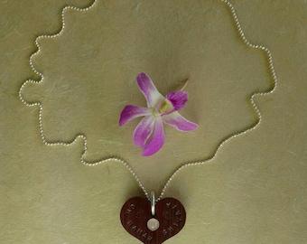 HEALING HEART Mantra Necklace, Om Namah Shivayah, Hand Carved Heart Mantra Necklace, Meditation Jewelry, Yoga Inspired Mantra Necklace(#011)