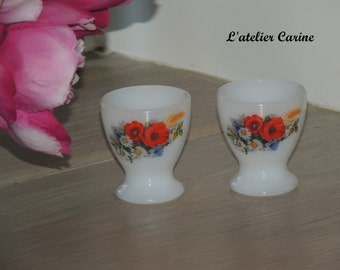 Lot of 2 egg cups arcopal, made in france, eggcup, decorated with flowers, seventies,.