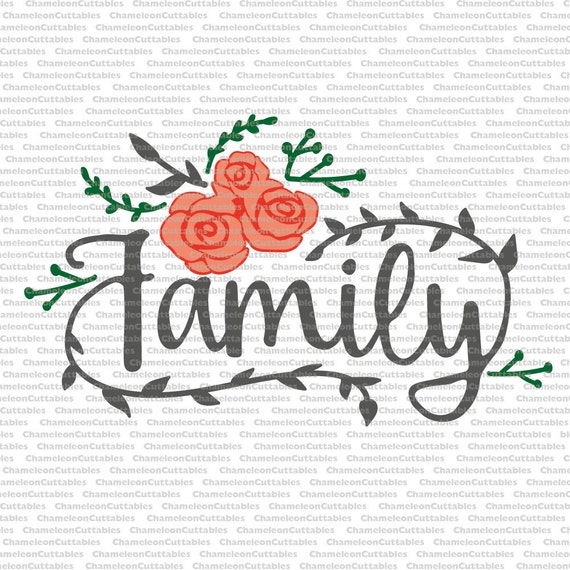 family svg cut file decal vector silhouette roses