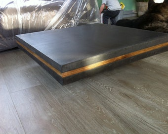 Homemade bespoke concrete and wood coffee table