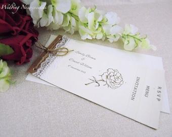 Natural Lace Chequebook Wedding Invitation