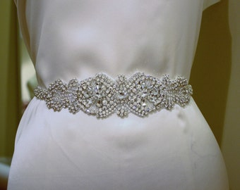 Amelia-Gorgeous Hand Rhinestone Tapered Bridal Belt