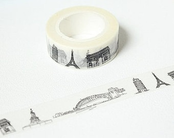Retro Vintage Washi Tape in Black & White/ Paris Eiffel Tower Gift Wrap
