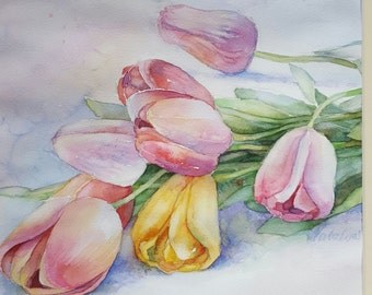 Watercolor Tulips original art by InterArtShop wedding gift  matted  artwork  bouquet flowers   40×40 cm  FREE shipping in UK