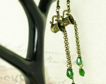 Tea Cup earrings drop steampunk