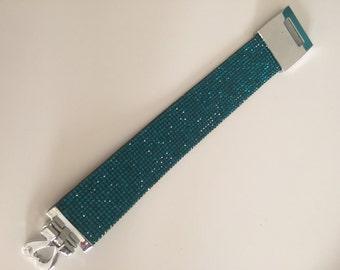 Green diamante cuff bracelet