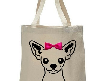 Dogs & Bow Ties: Chihuahua Canvas Tote Bag