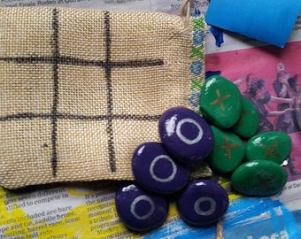 Handpainted Stone Tic-Tac-Toe On The Go