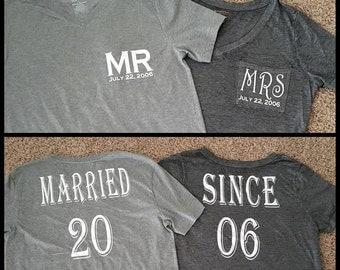 Mr & Mrs anniversary/wedding tee