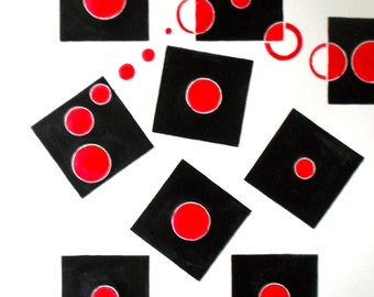 """Original Abstract Geometry Midcentury Modern Painting: """"Dancing Bolts"""" 24x18inches Red, White, and Black Geometric Abstraction Dramatic"""