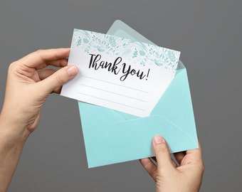 Printable Thank You Card Stationery Blue