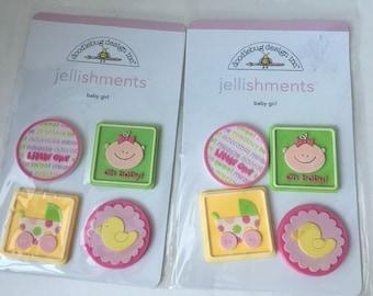 Set of 2- Baby Girl Jellishments #1257 by Doodlebug
