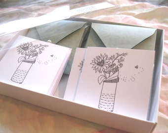 Mini Greeting Cards, pen and ink, sunflower with heart middle, EmZ Cards, Blank Inside