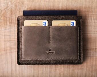 Passport Wallet - Italian Leather and Wool Felt, Deep Caramel Brown