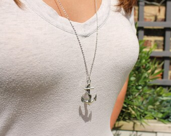 Silver Anchor Necklace, Anchor Jewellery, Nautical Jewellery, Anchor And Rope