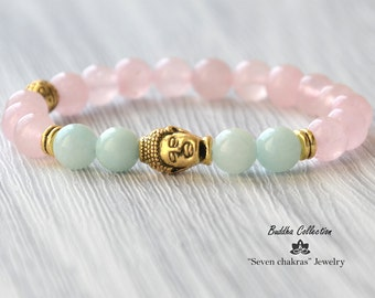 Rose quartz Buddha Bracelet Gemstone Jewelry Beaded bracelet Mala Beads Gemstone Bracelet Yoga Jewelry Energy Bracelet Yoga Bracelet