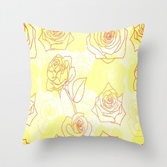 Etsy Yellow Throw Pillow : Yellow Roses Throw Pillow by NNPinksDesigns on Etsy