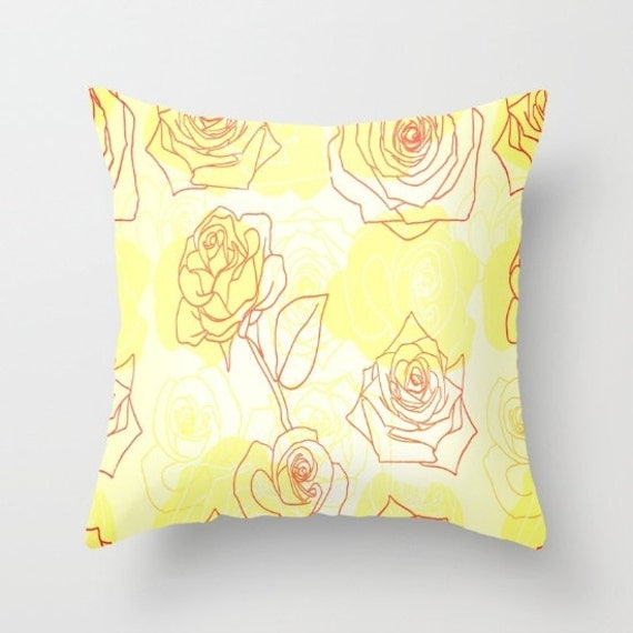 Yellow Roses Throw Pillow by NNPinksDesigns on Etsy