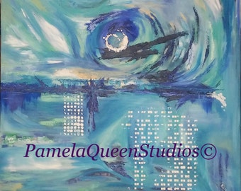 "Mystic Blues Abstract Oil Painting, 32""x32"""