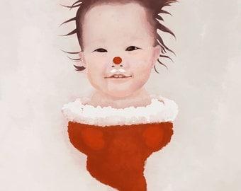 Custom baby digital painting. Baby portrait.Santa baby.