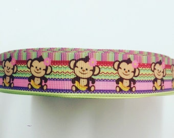 22mm 7/8 baby monkey grosgrain ribbon