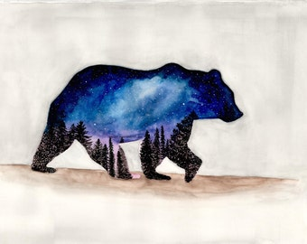 Starry Bear Watercolor Art Print Wall Art Home Decor Northern Lights Night Sky Gift for Him Husband Boyfriend Romantic Hunting Christmas