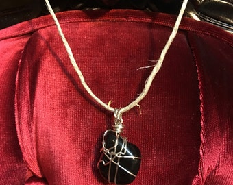 Black Agate wrapped in Silver Wire
