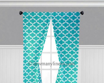 Mint Green Pink Teal Aqua Blue Curtains Floral Paisley Leaf