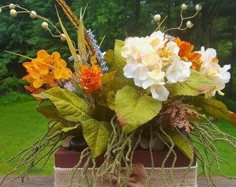 Rustic country fall silk flower arrangement box centerpiece