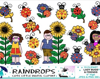 80% off SALE - LADYBUGS & FRIENDS Clipart , download , personal, commercial use , scrapbook , printable , crafts , invitations , cards